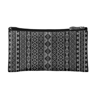 Aztekisches stilisiertes (V) Muster schwarz u. Makeup-Tasche