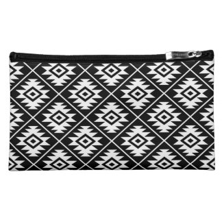 Aztekisches Symbol-stilisiertes Muster-Weiß auf Makeup-Tasche