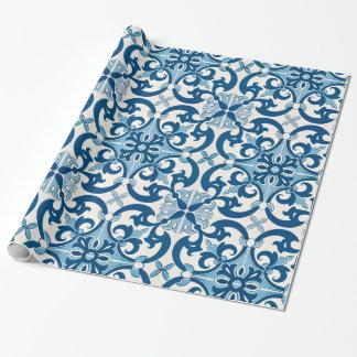 Azulejo Lilien-Art-Muster Geschenkpapier