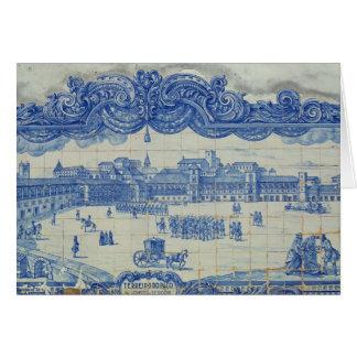 Azulejos Fliesen, die das Praca darstellen, tun Karte