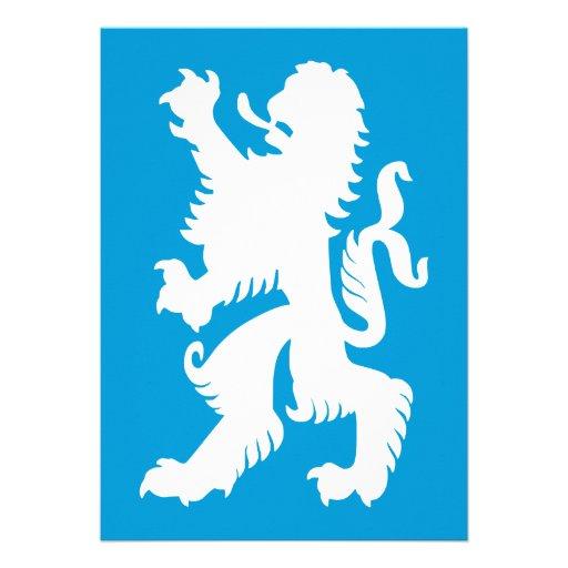 Azurblau-und weißerbayerischer Löwe Einladungskarte