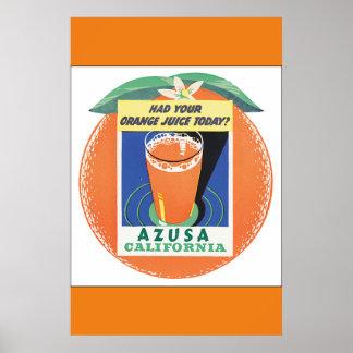 Azusa Kalifornien Vintages Reise-Plakat Poster