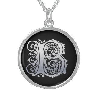 """B-Anfangsmonogramm """"Silber-Spitze auf schwarzer"""" Sterling Silberkette"""
