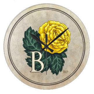 """""""B für Begonie"""" Blumen-Monogramm Große Wanduhr"""