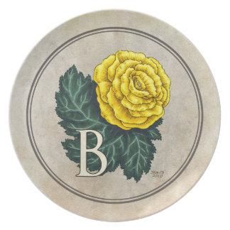 B für Begonien-Blumen-Alphabet-Monogramm Teller