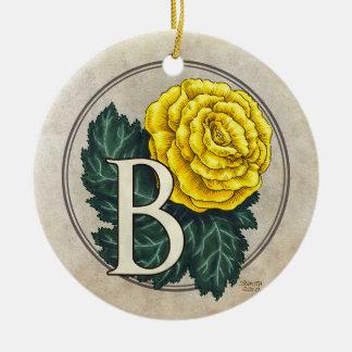 B für Begonien-Blumen-Monogramm-runde Verzierung Keramik Ornament