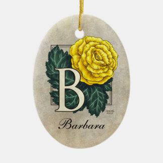 B für Begonien-Blumen-Monogramm-Verzierung mit Keramik Ornament