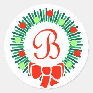 B-Monogramm (Retro WeihnachtsKranz) Runder Aufkleber