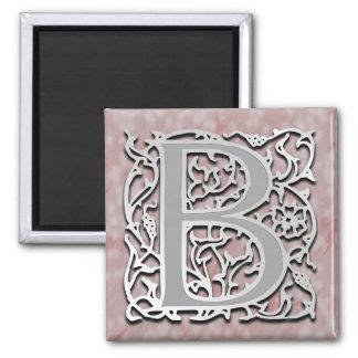 """B-Monogramm """"Silber-Stein"""" quadratischer Magnet"""