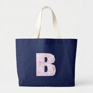 B - Niedrige Polydreiecke - neutrales rosa lila Jumbo Stoffbeutel