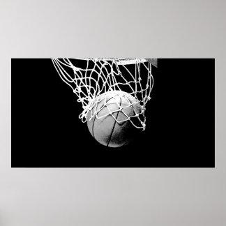 B&W Basketball-Ball u. Netz-Druck-Plakat
