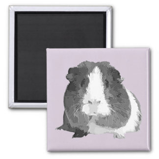 "B&W ""Betty"" Meerschweinchen-Kühlschrankmagnet Quadratischer Magnet"
