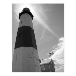B&W - Montauk Leuchtturm - Postkarte