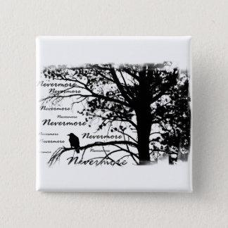 B&W Raven Nevermore Silhouette Quadratischer Button 5,1 Cm
