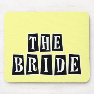 B&W Retro Briefmarke - die Braut Mousepad