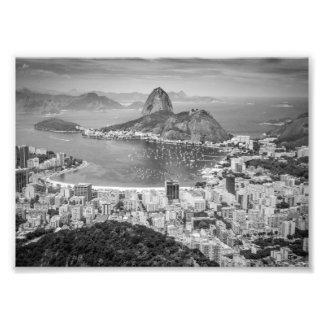B&W Rio de Janeiro Luftaufnahme Photographischer Druck