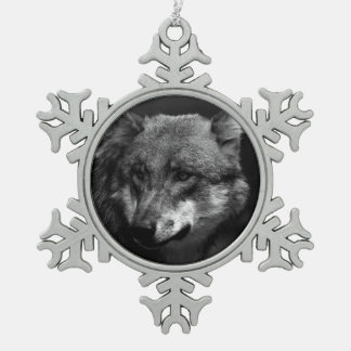 B&W Wolf Schneeflocken Zinn-Ornament