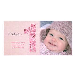 Baby-1. Geburtstag danken Ihnen Foto-Karte Photo Karte