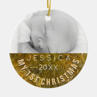 Baby-1. Weihnachten der Foto-Verzierungs-| Keramik Ornament
