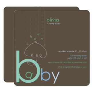 """Baby """"a"""" b-Jungen-in der blauen niedlichen Quadratische 13,3 Cm Einladungskarte"""