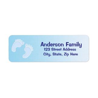Baby-Abdruck-blaues Adressen-Etikett