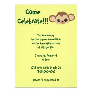 Baby-Affe-Gelb-Babyparty 16,5 X 22,2 Cm Einladungskarte