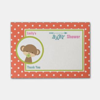 Baby-Affe mit eine Schnuller-Baby-Duschen-Dank Post-it Klebezettel