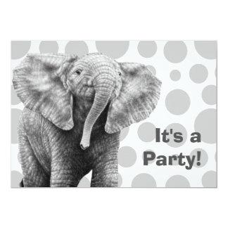 Baby-afrikanischer Elefant beschmutzt Party 12,7 X 17,8 Cm Einladungskarte