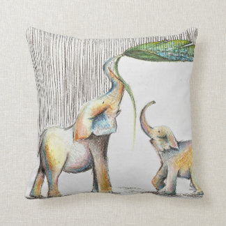 Baby and Mom Elephant Watercolor Kissen