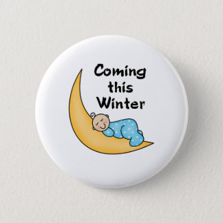 Baby auf Mond-Winter Runder Button 5,7 Cm