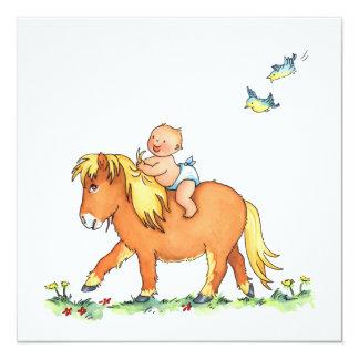 Baby auf Pony-Pferd - Geburtsmitteilung Quadratische 13,3 Cm Einladungskarte