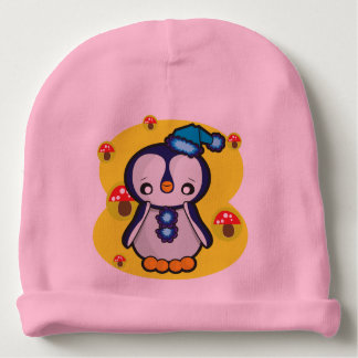 Baby-BaumwollBeanie, rosa mit Pinguin Babymütze