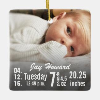 Baby Birth Stats Birth Record Christmas Photo Ornament