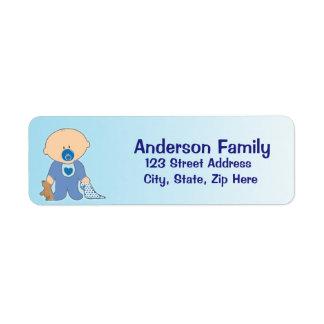 Baby Blankie blaues Adressen-Etikett