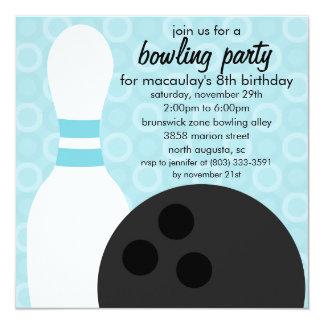 Baby-Blau-Button-Kumpel-Bowlings-Geburtstags-Party Quadratische 13,3 Cm Einladungskarte