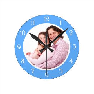 Baby-Blau-Foto-Rahmen Wanduhr