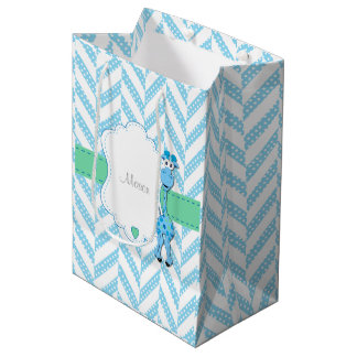 Baby-Blau-Giraffe - Baby-Dusche Mittlere Geschenktüte