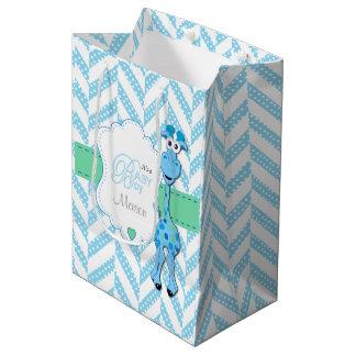 Baby-Blau-Giraffen-Babyparty Mittlere Geschenktüte