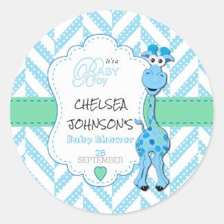 Baby-Blau-Giraffen-Babyparty Runder Aufkleber