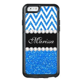 Baby-Blau-Glitter-Glitzern-weißes Zickzack Muster OtterBox iPhone 6/6s Hülle