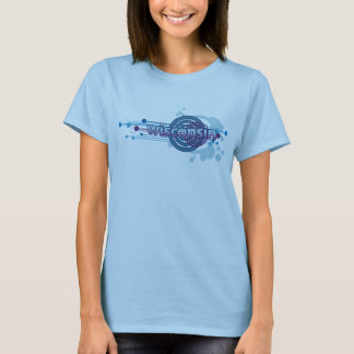 Baby-Blau-grafischer Kreis-Wisconsin-T - Shirt