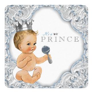 Baby-Blau-Prinz Babyparty Quadratische 13,3 Cm Einladungskarte