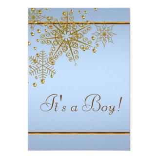 Baby-Blau-Schneeflocke-Babyparty 12,7 X 17,8 Cm Einladungskarte