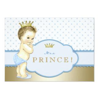 Baby-Blau und Goldprinz Babyparty 12,7 X 17,8 Cm Einladungskarte