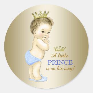Baby-Blau und Goldprinz Babyparty Runder Aufkleber