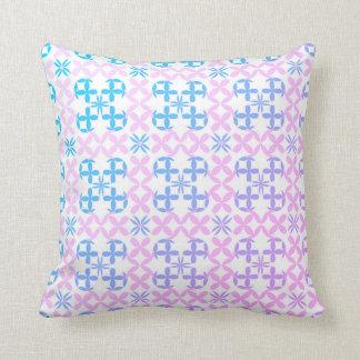Baby-Blau und rosa abstraktes Blumen-Kissen Kissen