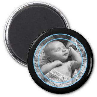 Baby-Blau-und Schwarz-Foto-Rahmen Runder Magnet 5,7 Cm