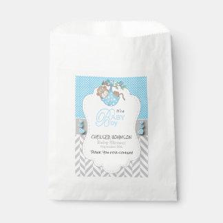 Baby-Blau, weiße graue Affe-Babyparty Geschenktütchen