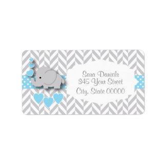 Baby-Blau-, weiße und Graueelefant-Babyparty Adressaufkleber