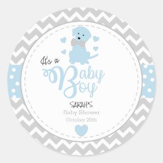 Baby-Blau-Welpen-Babyparty-Aufkleber Runder Aufkleber